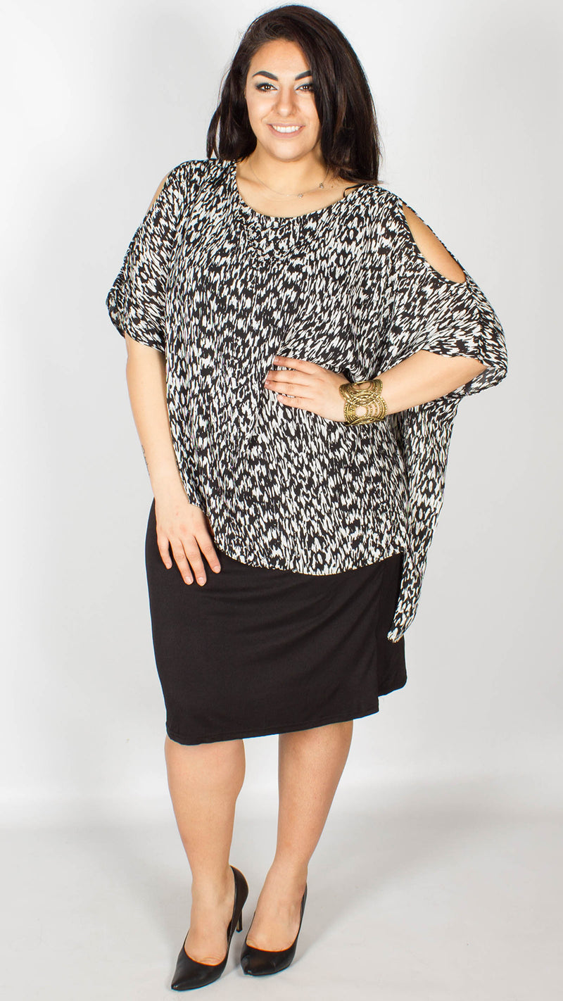 Amy Cold Shoulder Overlay Black and White Dress