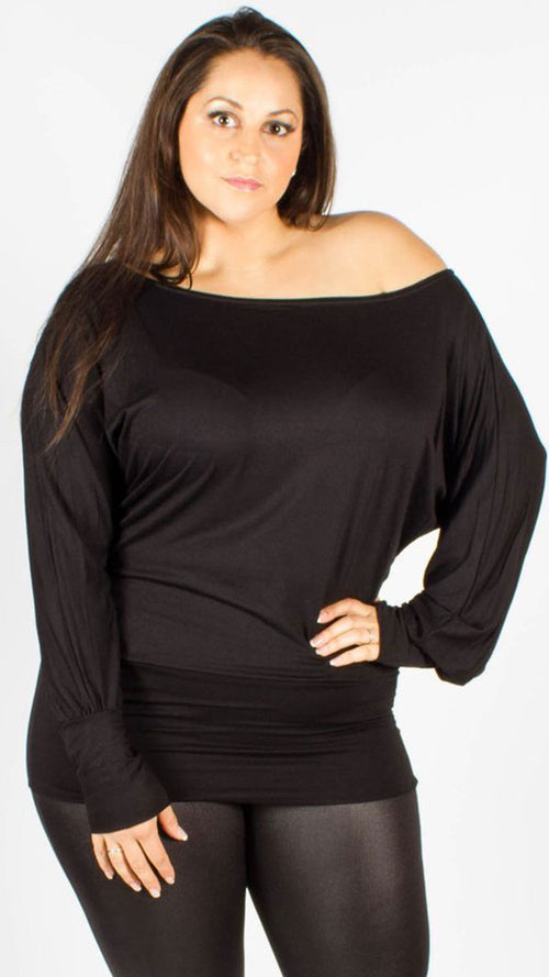 Asia Black Off Shoulder Long Sleeve Batwing Top