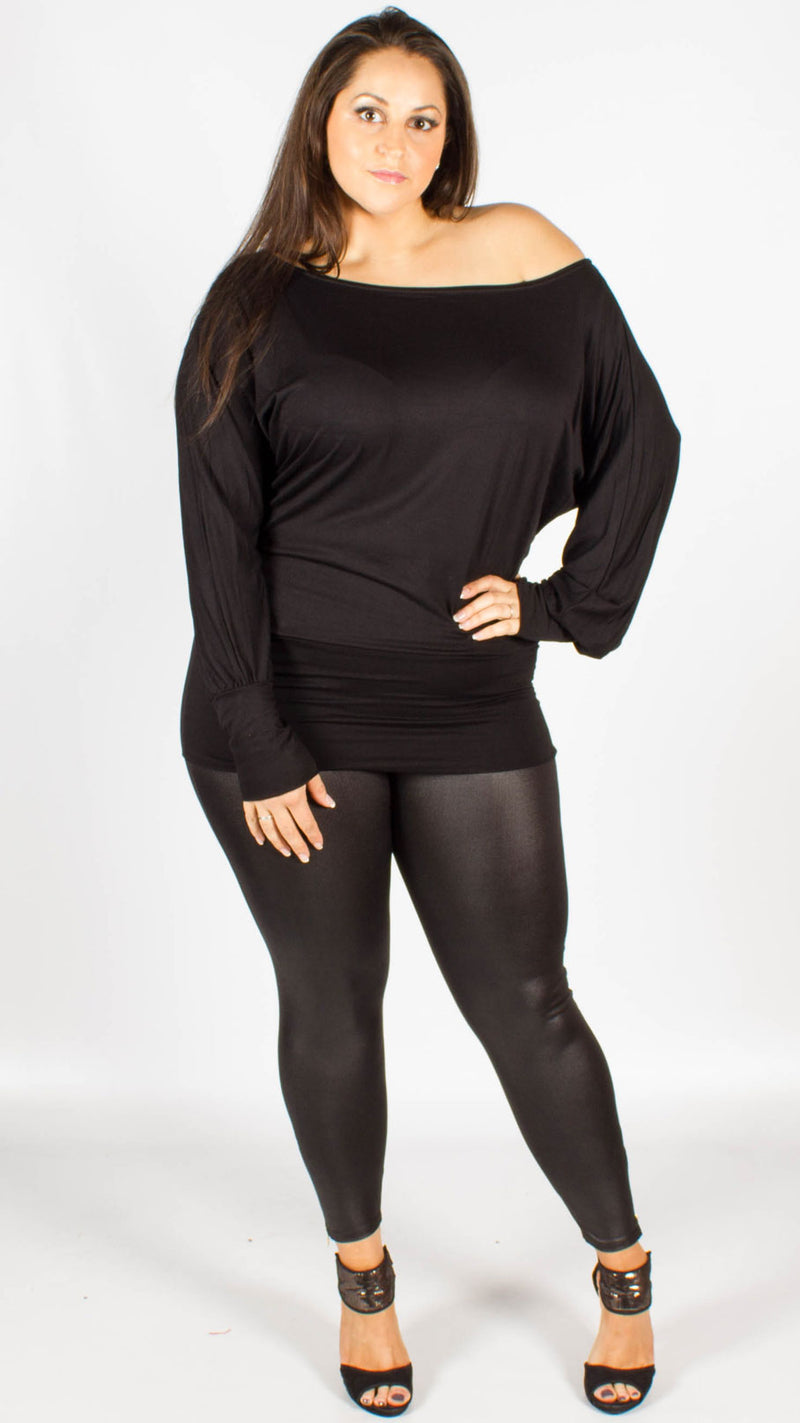 Black Wet Look Zip Leggings