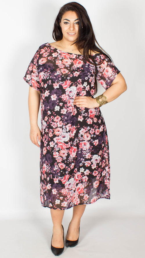 Becka Two Piece Floral Chiffon Dress