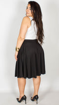 Amanda Plain Flared Skater Skirt Black