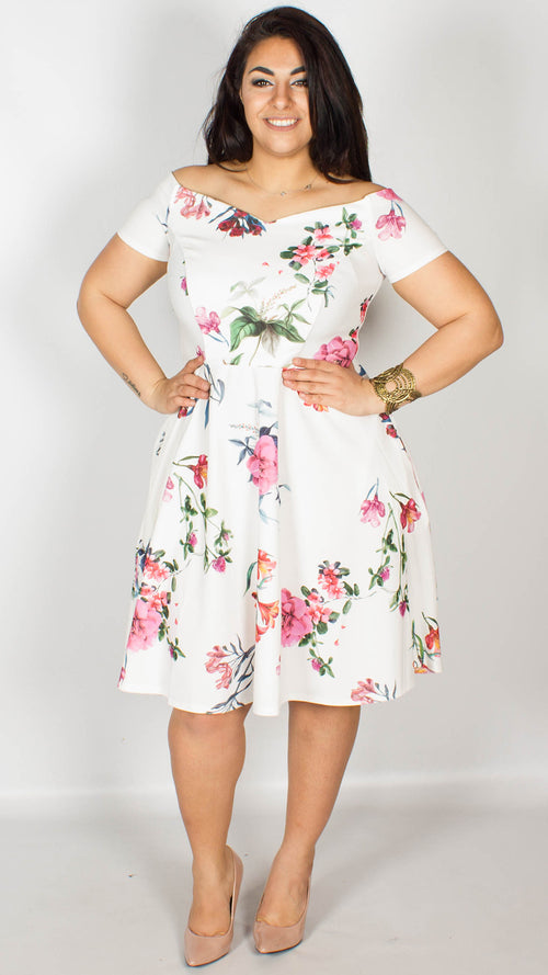 Honey Off the Shoulder Floral Print Dress
