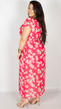 Lois Off the Shoulder Ruffle Hot Pink Maxi Dress