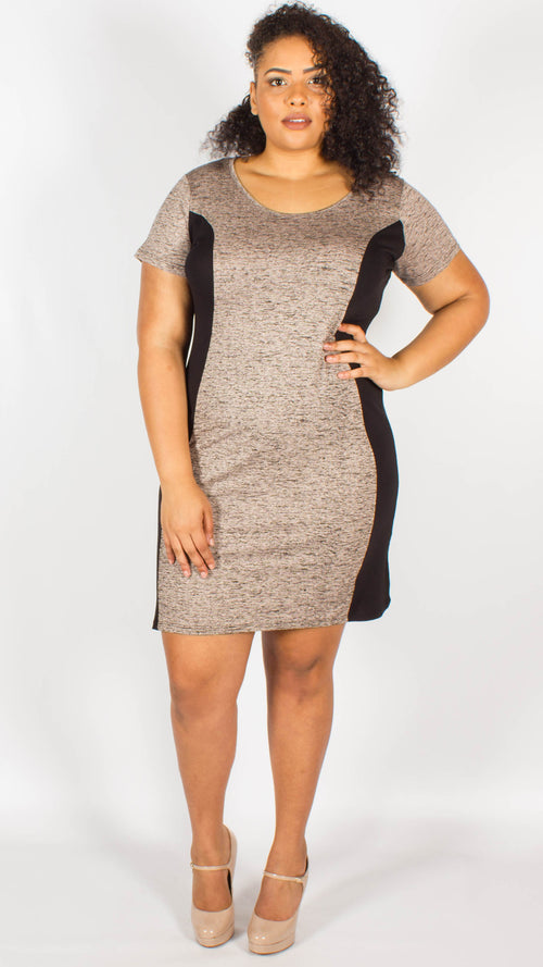Venezia Stone Marl Jersey Side Panel Dress