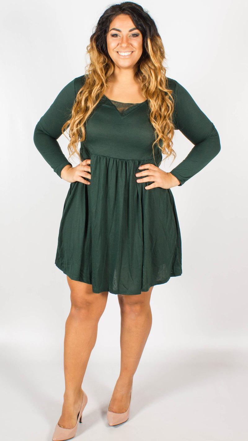 Hanoi V Neck Green Long Sleeve Dress with Lace Band
