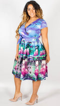 Osaka Purple Street Print Swing Dress