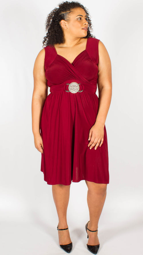 Cross Over Wrap Buckle Dress Wine