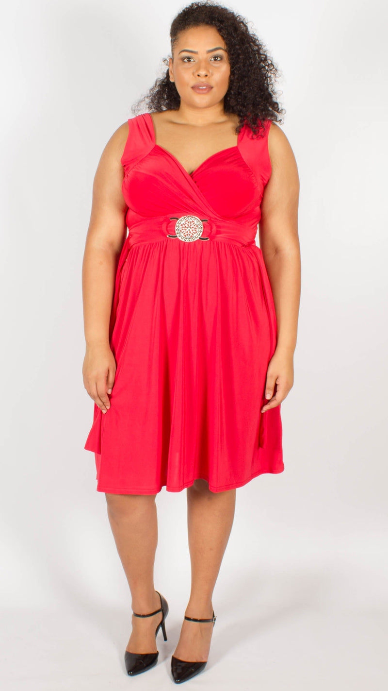 Cross Over Wrap Buckle Dress Red
