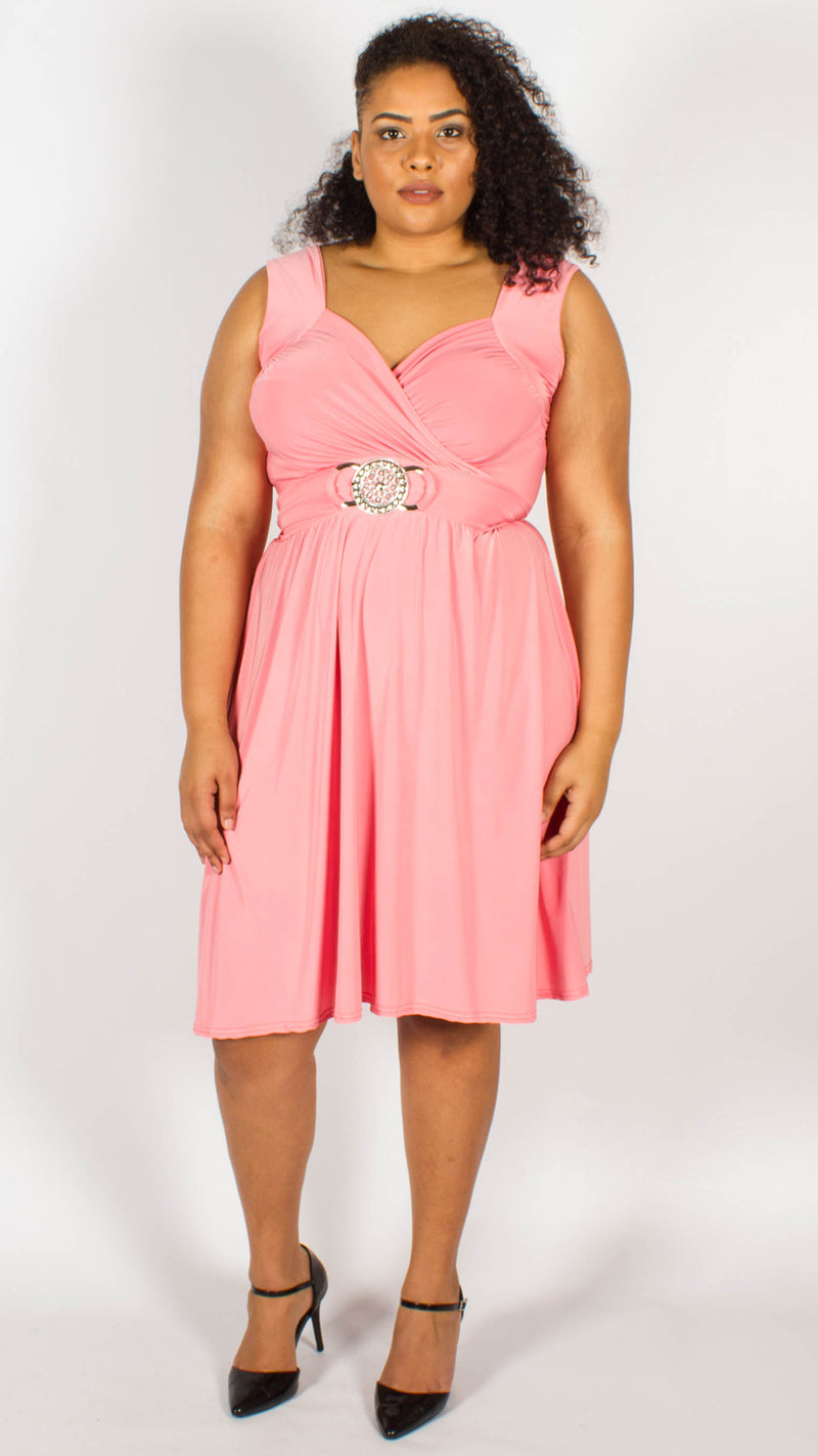 Cross Over Wrap Buckle Dress Pink