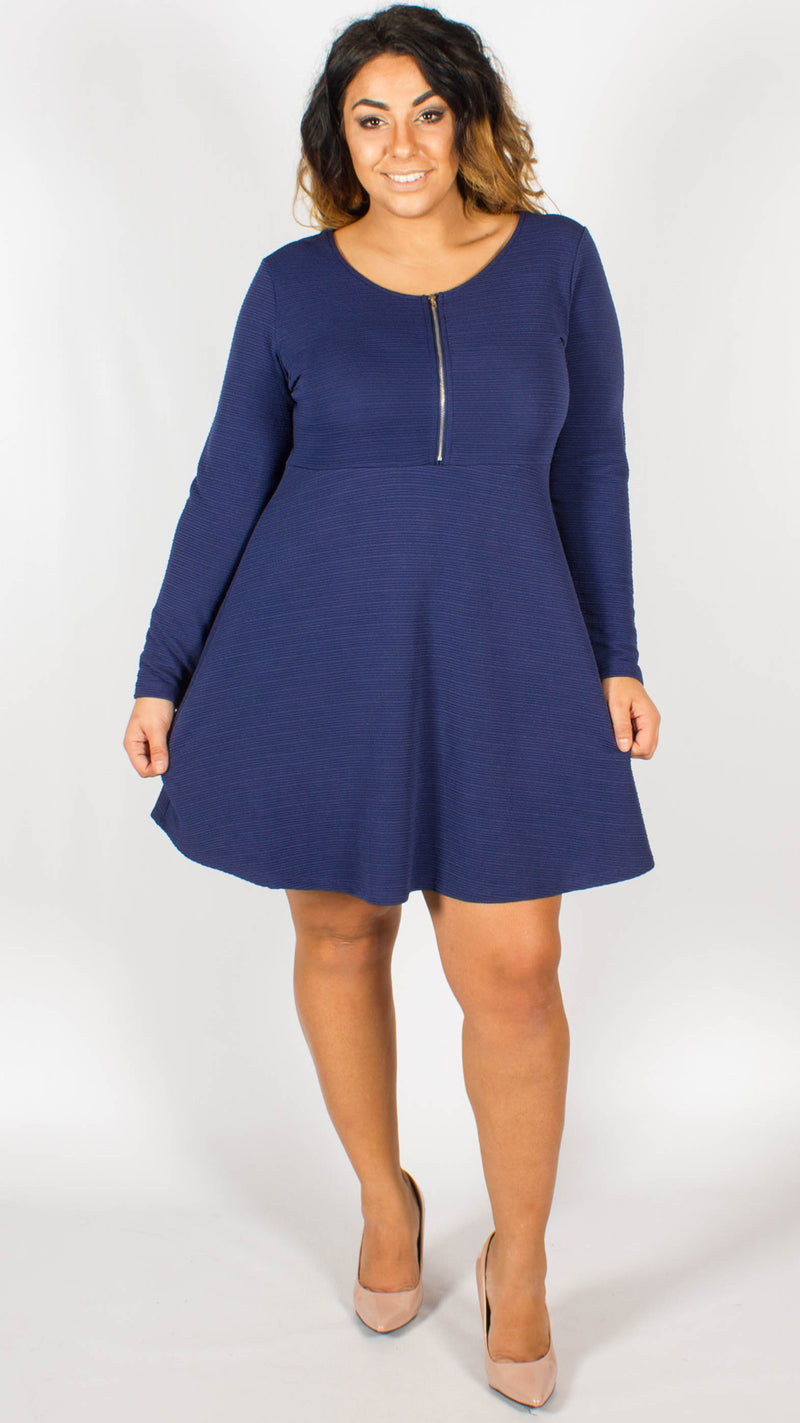 Manhattan Blue Zipper Front Dress