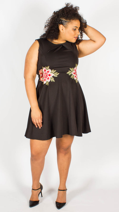 Mallory Black Sleeveless Dress with Floral Embroidery