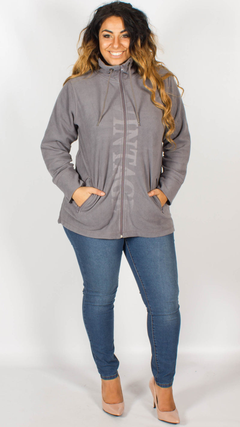 Taffalla Grey Vintage Imprint Zip Through Fleece Jacket