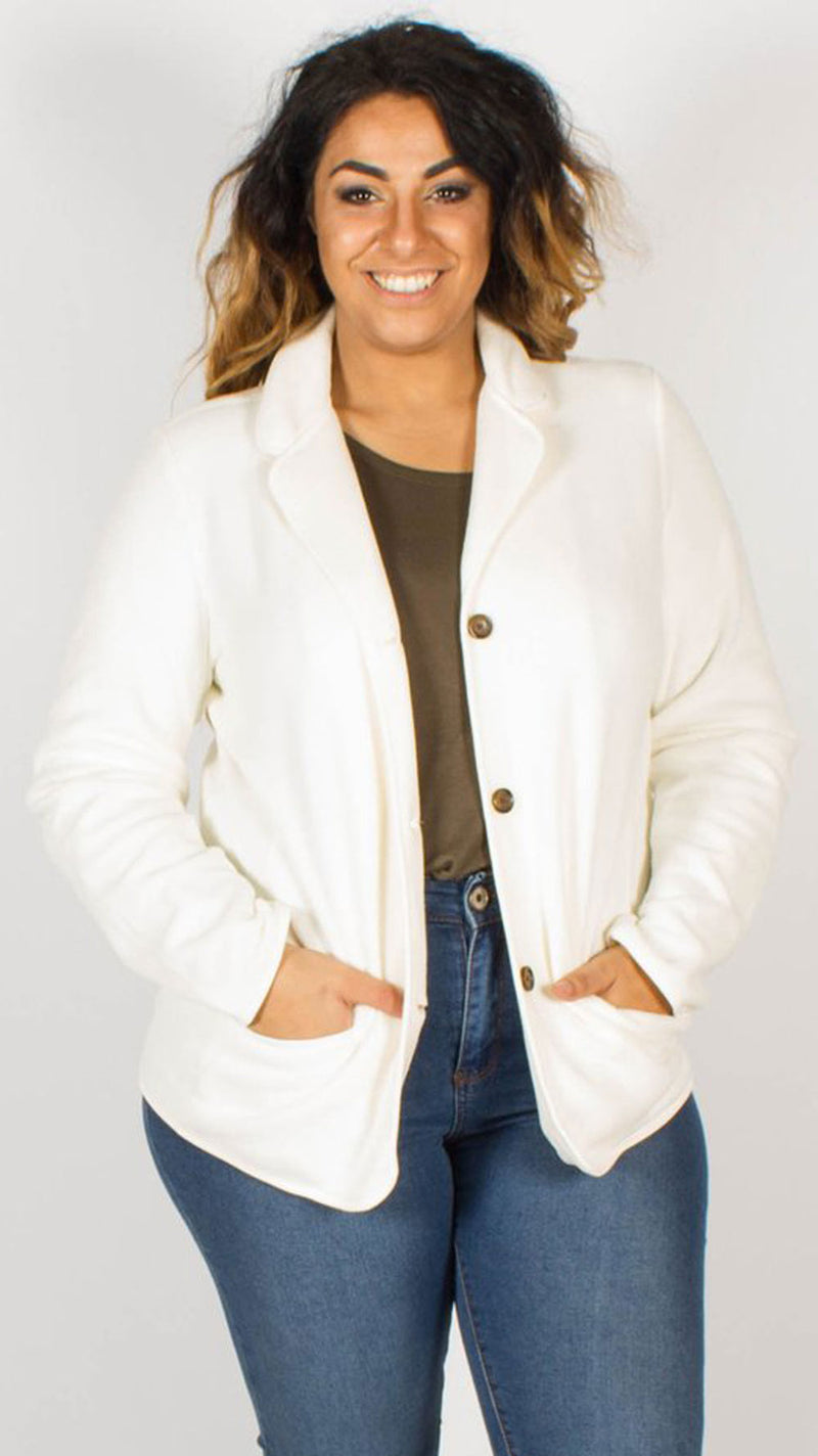 Quito Ivory Soft Fleece Triple Button Blazer Jacket