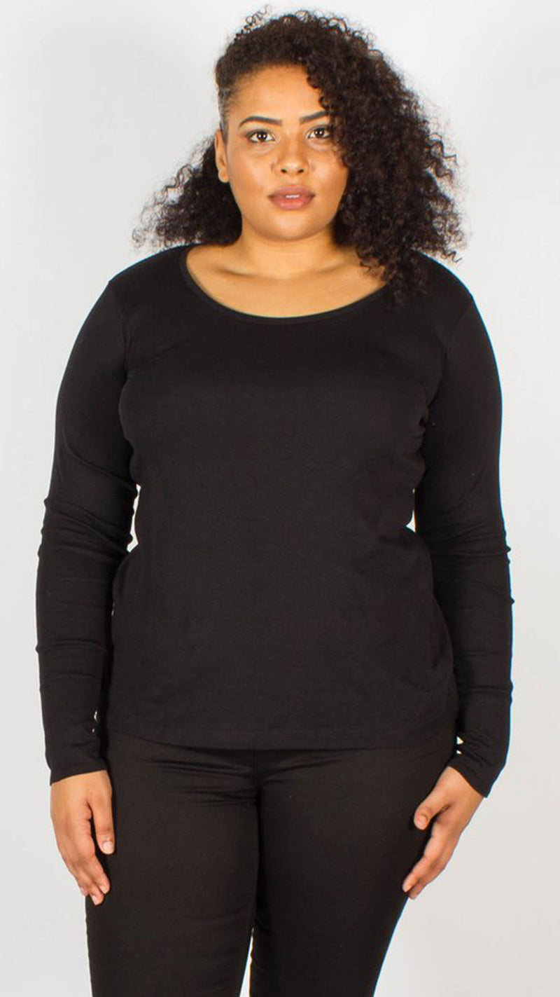 Riga Black Pure Cotton Scoop Neckline Top