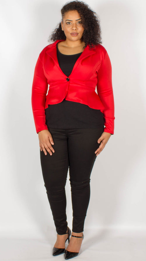 Havana Red One Button Frill Peplum Blazer