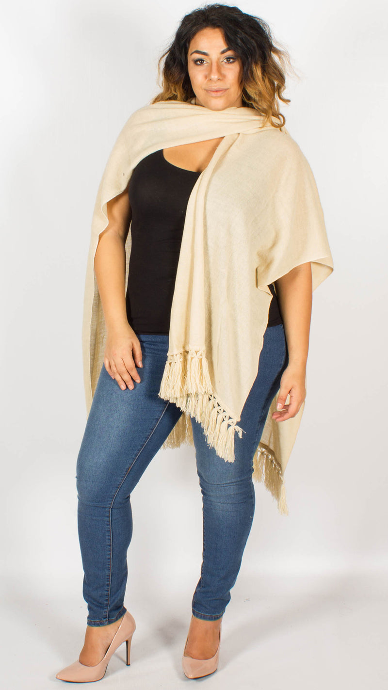 Antwerp Fringe Knitted Beige Cape