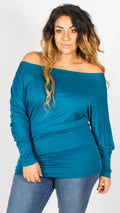 Asia Teal Off Shoulder Long Sleeve Batwing Top