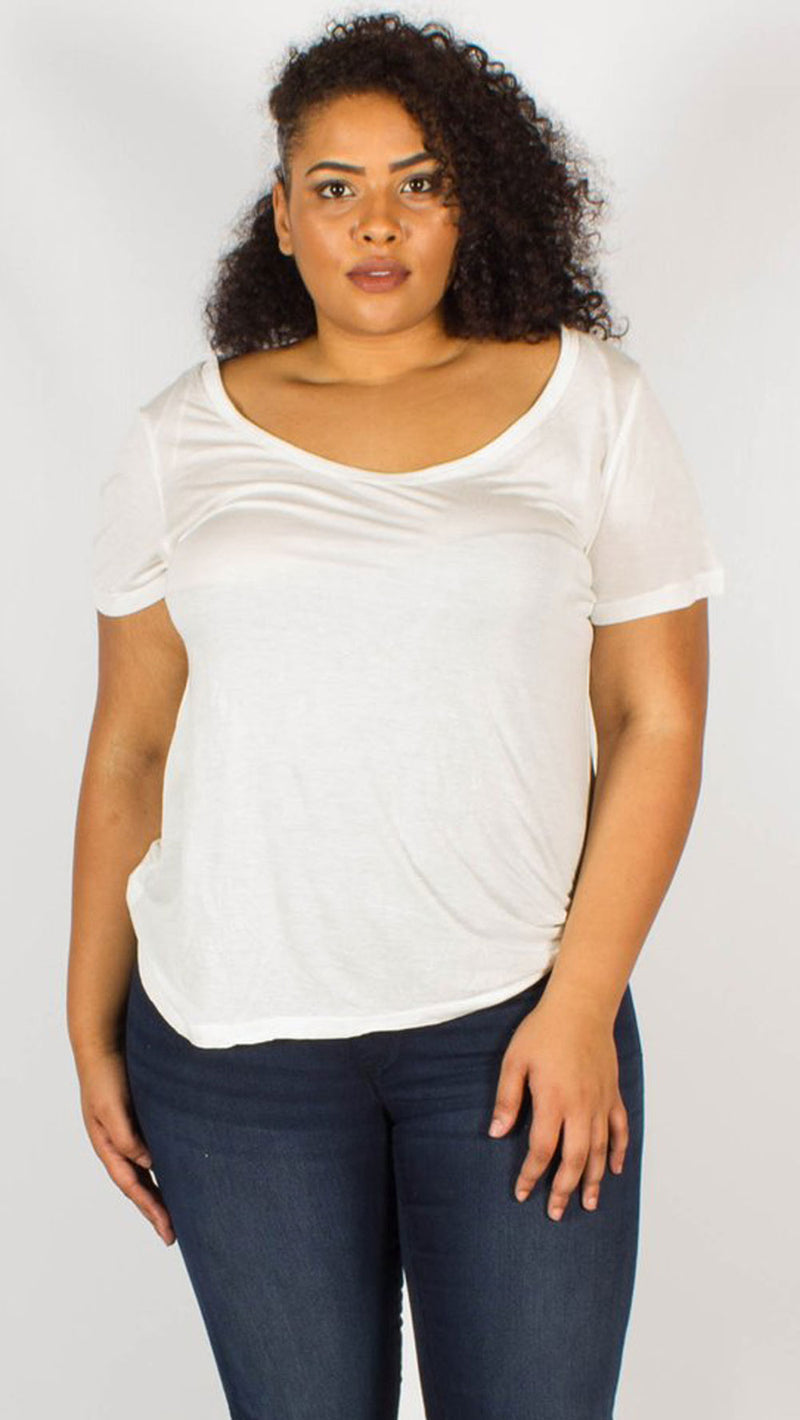 Kaya White Scoop Neck T-Shirt