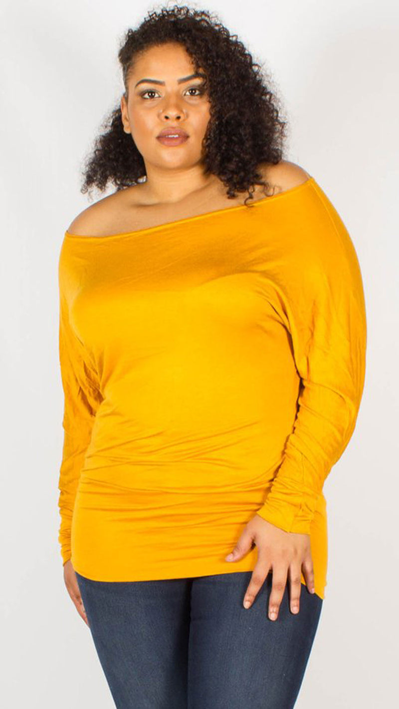 Asia Mustard Off Shoulder Long Sleeve Batwing Top