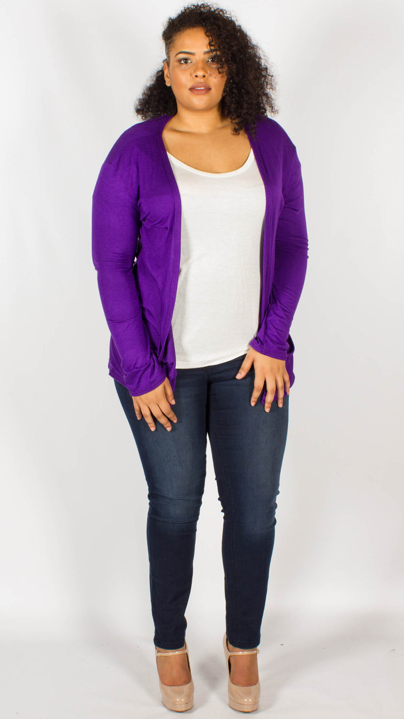Seattle Purple Plain Open Cardigan