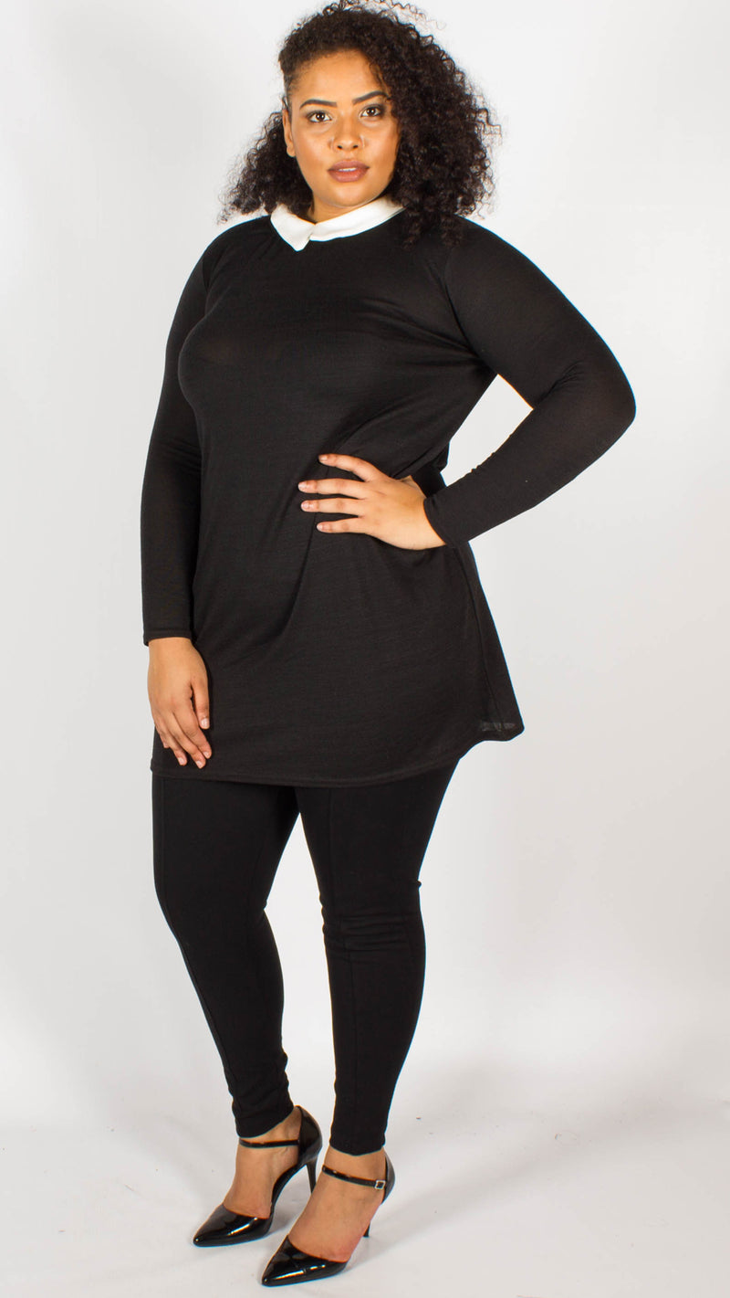 Penh Black Contrast Collar Long Sleeve Dress