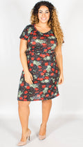 Valdiva Black Floral Print Tie Waist Midi Dress