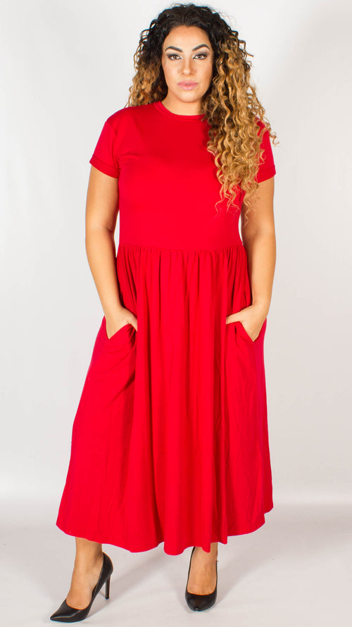 Cebu Red Midi Fit and Flare Jersey Pocket Dress