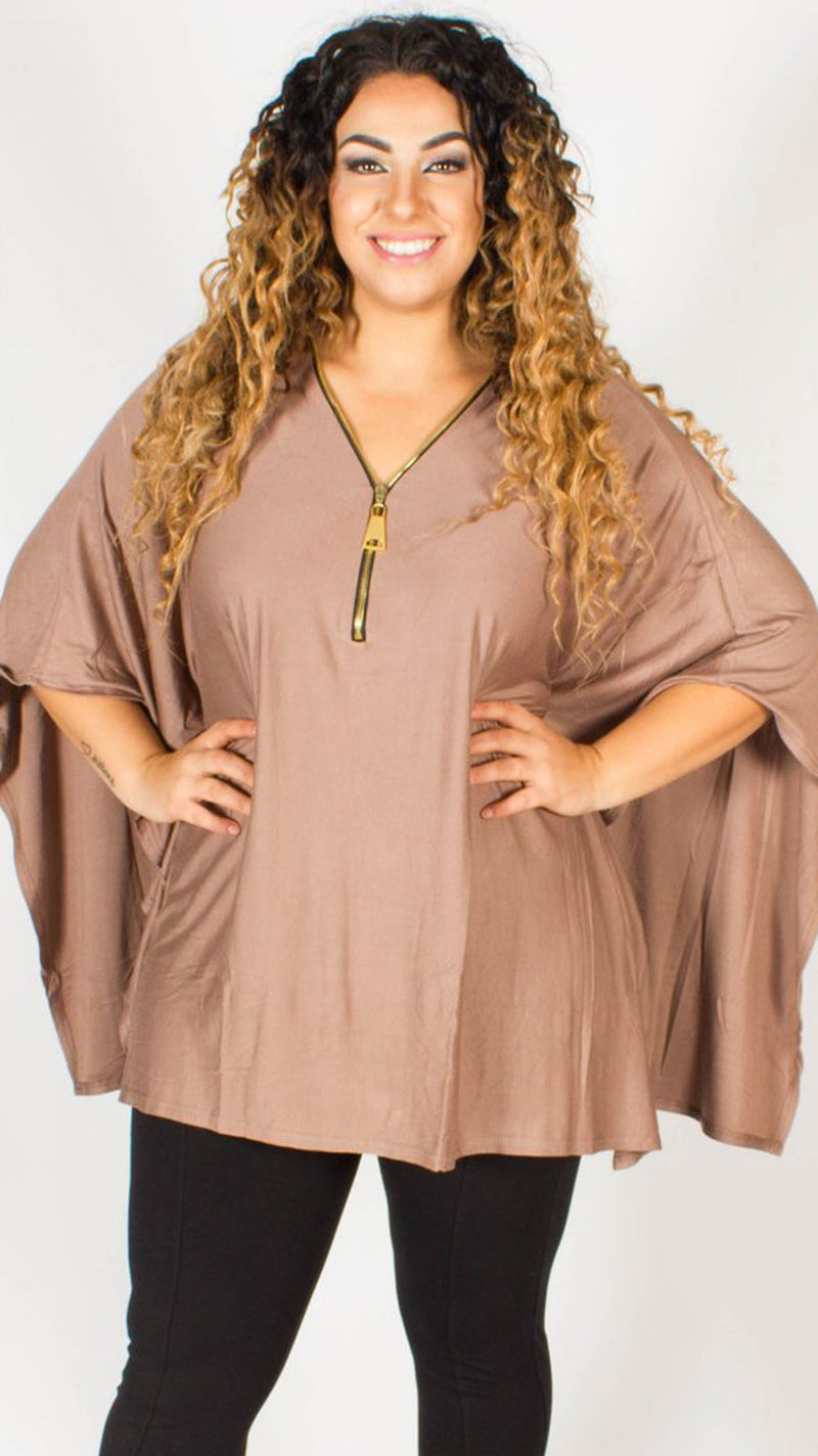 Belgrade Brown Batwing Zip Kimono Tunic Top