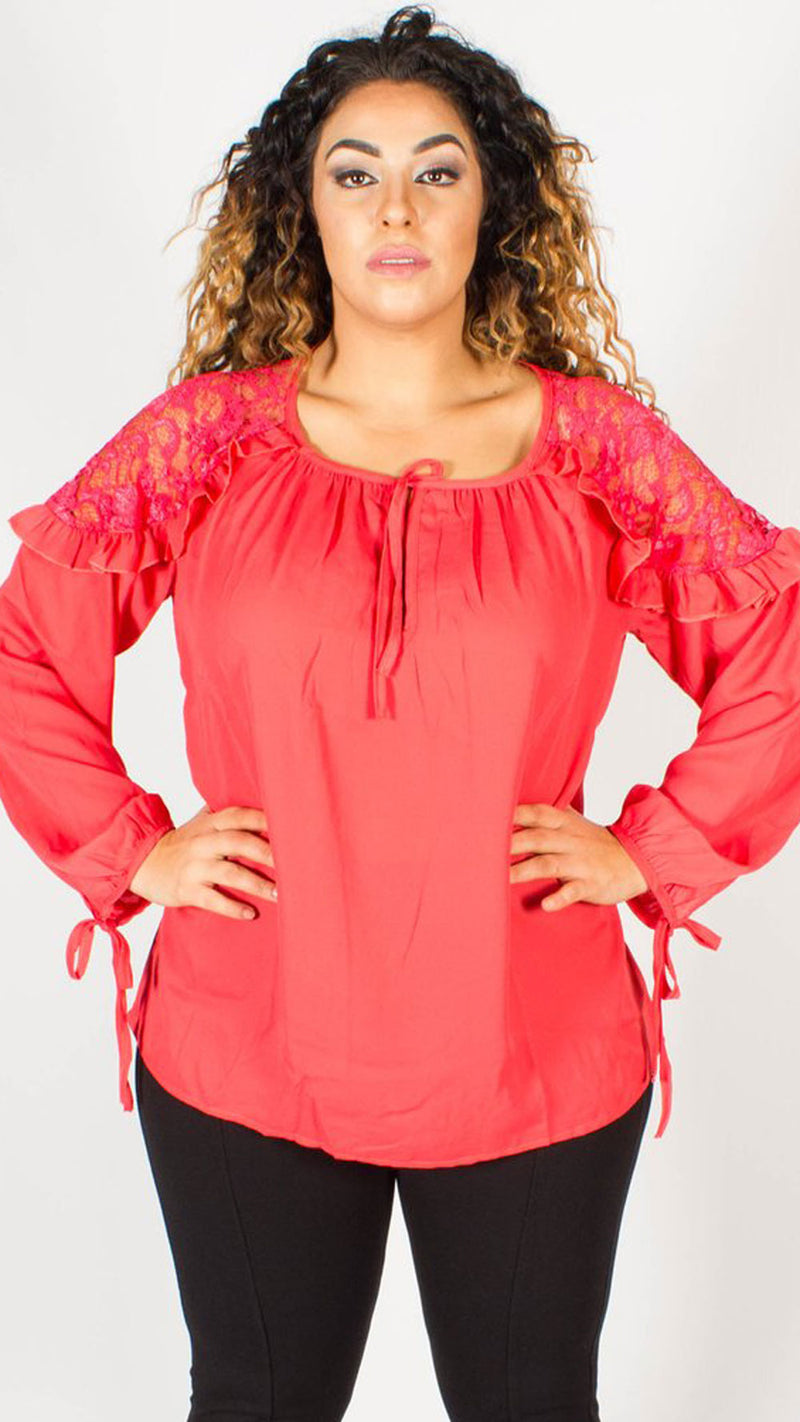 Portland Lace Shoulder Ruffle Blouse
