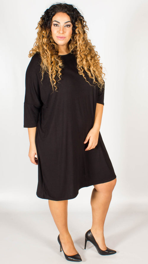 Boise Black Dress With Three-Quarter Sleeves