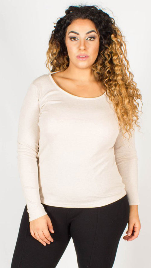 Riga Oatmeal Cotton Rich Scoop Neckline Basic Top