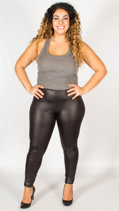 Charlotte Wet Look Stretch Black Leggings