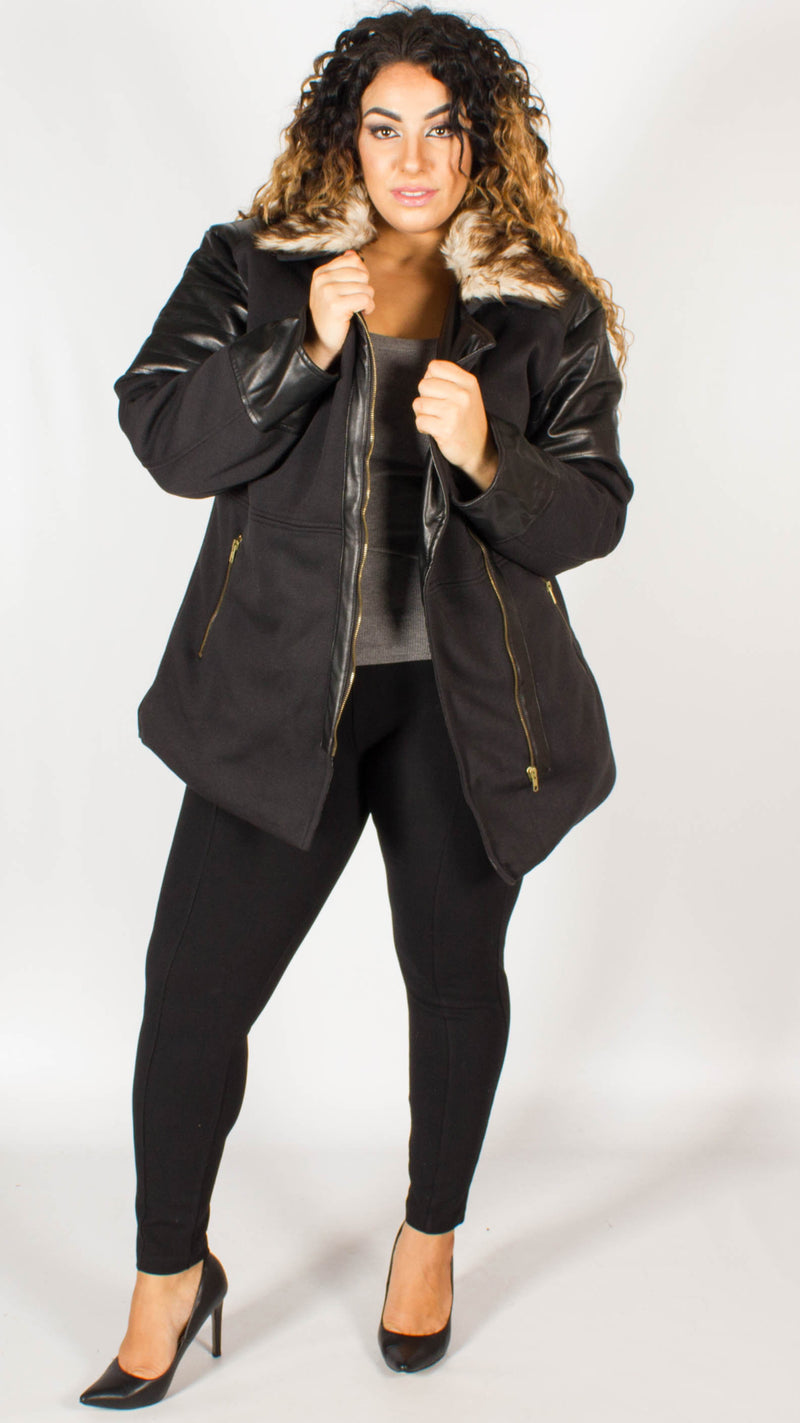 Calgary Fur Hooded Zip Jacket