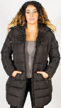 Siberia Black Long Belted Puffer Jacket