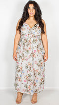 Stephanie Grey Floral Print Wrap Maxi Dress