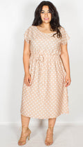 Lindsey Beige Stone Polka Dot Cap Sleeve Tea Dress