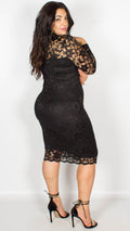 Rosario Black Midi Dress with Long Sleeves & Scallop Detailing
