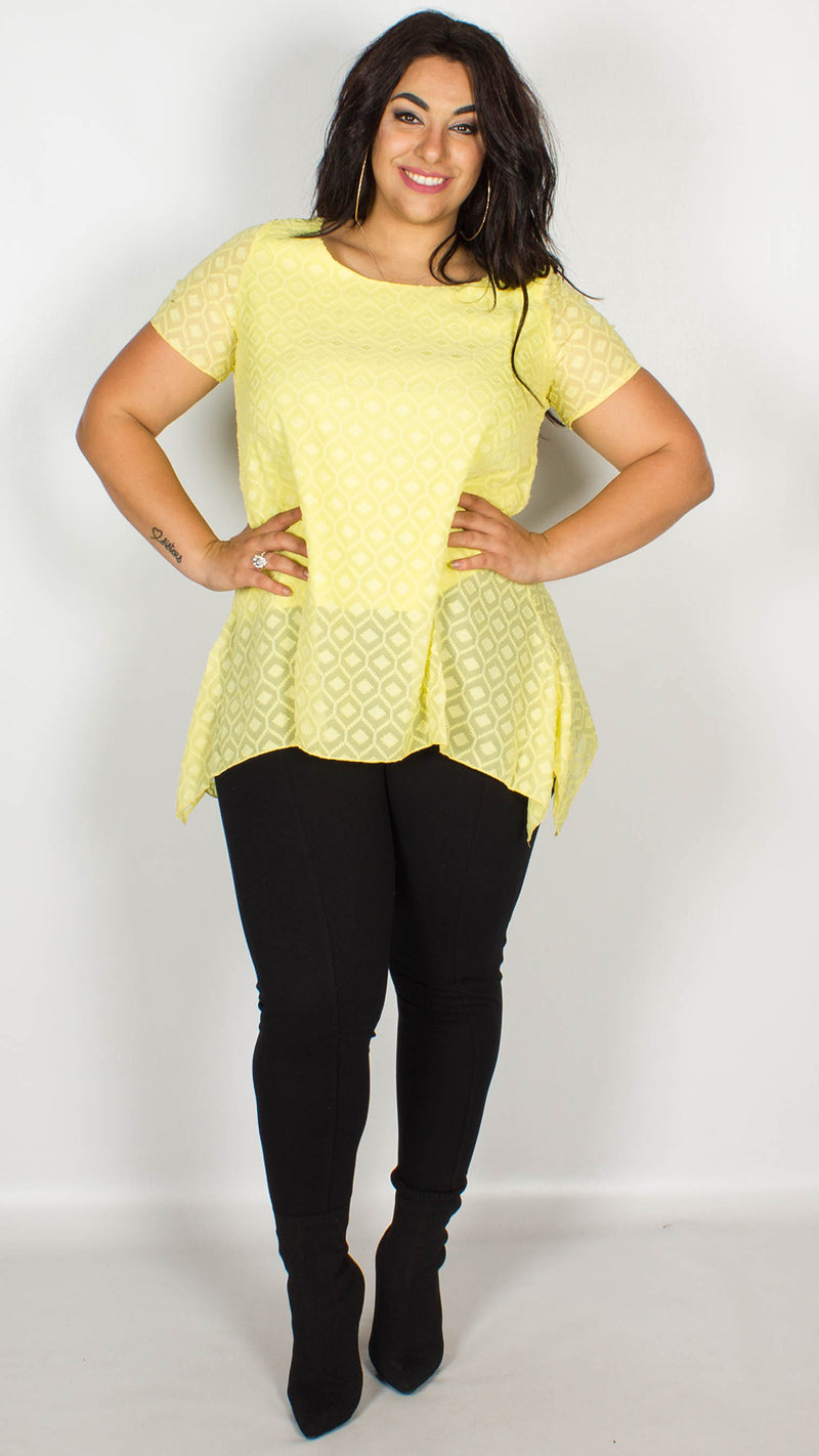 Tanya Yellow Burnout Asymmetrical Tunic Top