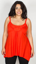 Wendy Orange Asymmetric Lace Trim Vest