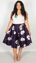 Rebecca Fully Lined Cotton Blue White Floral High Waist Skirt