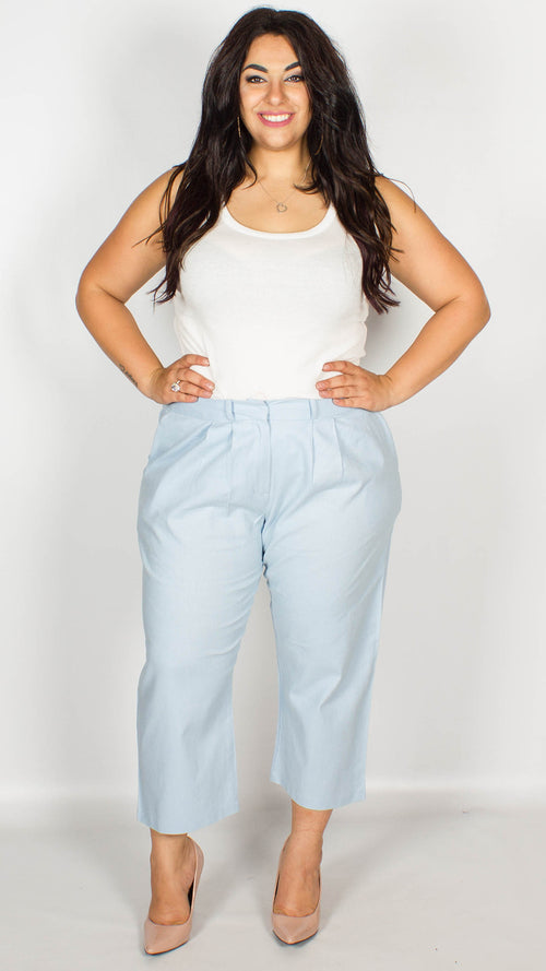 Rachel Blue Stretch Linen Cropped Culottes Trousers