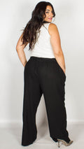 Kelly Black Belted Cotton Trousers