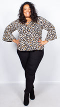 CurveWow Leopard Print Swing Top with Fit & Flare Sleeves