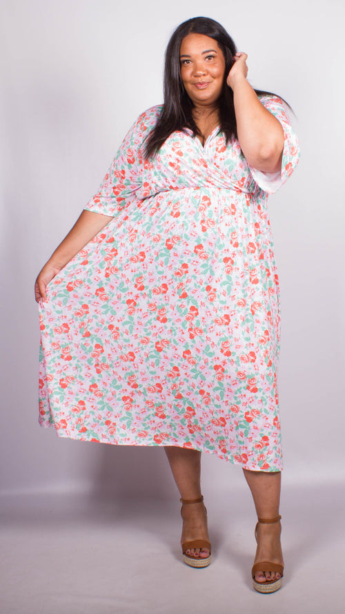 CurveWow Pink Floral Print Wrap Midi Dress