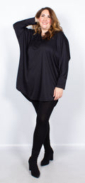 CurveWow Batwing Long Hem Dip Top Black