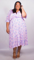 CurveWow Pink Tie Dye Wrap Maxi Dress