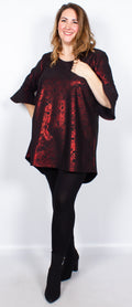 CurveWow Longline Blouse Black & Red Print