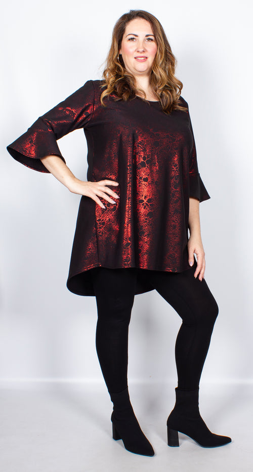 CurveWow Long Line Blouse Black & Red Print