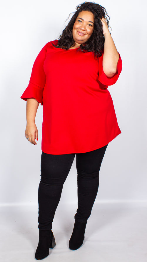 CurveWow Long Line Blouse Red