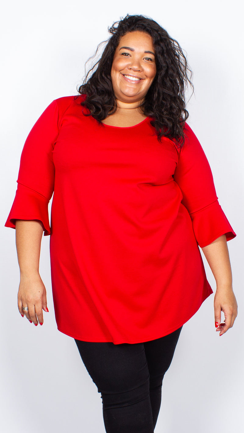 CurveWow Longline Blouse Red
